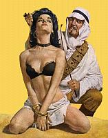 arab slaver and his tied captive